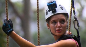 Helen tears up during one of the first tasks in the jungle